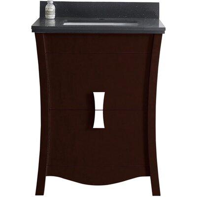 Cataldo Floor Mount 24 Single Bathroom Vanity Set with Single Hole Faucet Mount Base Finish: Coffee, Top Finish: Black Galaxy, Sink Finish: White