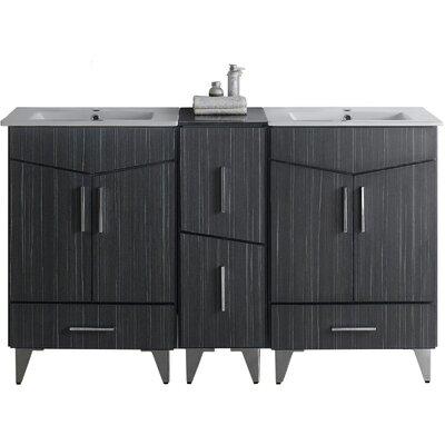 Kapp Floor Mount 61.5 Double Bathroom Vanity Set Faucet Mount: Single Hole
