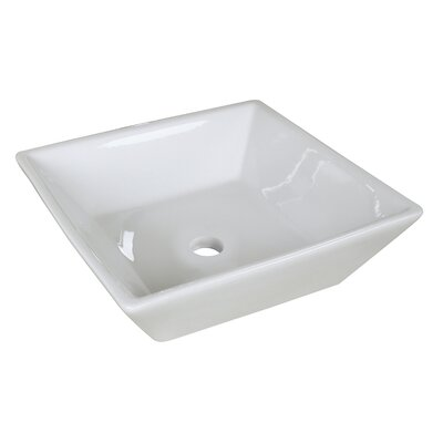Ceramic Square Vessel Bathroom Sink with Overflow