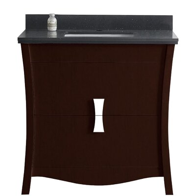 Cataldo Floor Mount 36 Single Bathroom Vanity Set with Single Hole Faucet Mount Base Finish: Coffee, Top Finish: Black Galaxy, Sink Finish: Biscuit