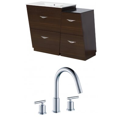 Kao Floor Mount 49.5 Single Bathroom Vanity Set Faucet Mount: 8 Centers