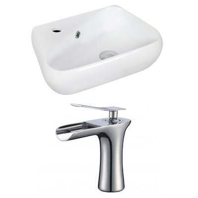 Ceramic 11 Wall Mount Bathroom Sink with Faucet and Overflow