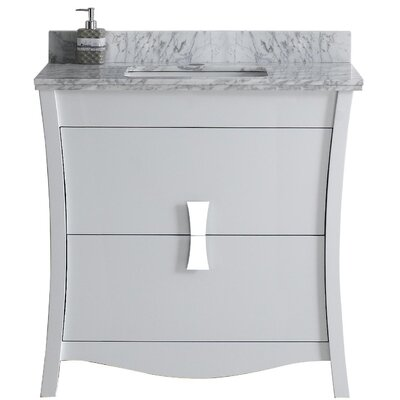 Cataldo Floor Mount 36 Single Bathroom Vanity Set with Single Hole Faucet Mount Base Finish: White, Top Finish: Bianca Carara, Sink Finish: Biscuit