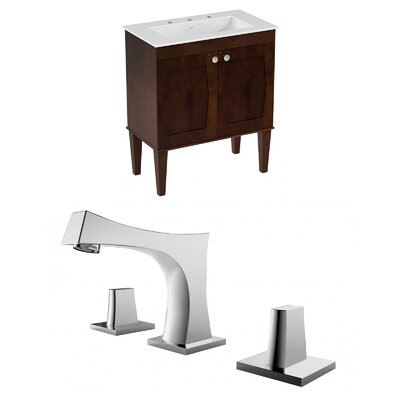 Harrop Floor Mount 30 Single Bathroom Vanity Set Faucet Mount: 8 Centers