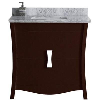 Cataldo Floor Mount 36 Single Bathroom Vanity Set with Single Hole Faucet Mount Base Finish: Coffee, Top Finish: Bianca Carara, Sink Finish: White