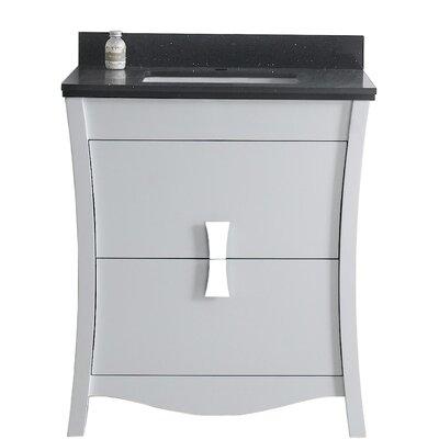 Cataldo Floor Mount 31 Single Bathroom Vanity Set with Single Hole Faucet Mount Base Finish: White, Top Finish: Black Galaxy, Sink Finish: White