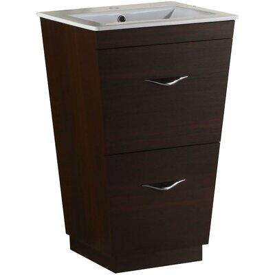 Kao Modern Floor Mount 23.75 Single Bathroom Vanity Set Faucet Mount: Single Hole