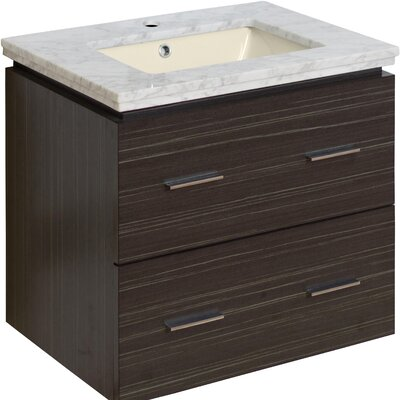 Maryalice Wall Mount 23.75 Single Bathroom Vanity Set Sink Finish: Biscuit