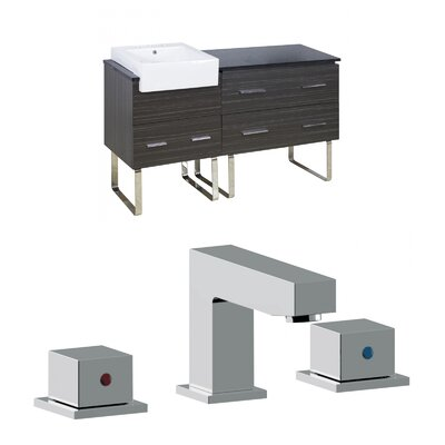 Mulberry Floor Mount 60 Single Bathroom Vanity Set with Ceramic Top Faucet Mount: 8 Centers