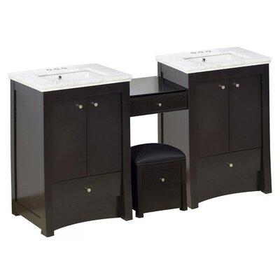 Kimbrell Floor Mount 68.75 Single Bathroom Vanity Set Faucet Mount: 4 Centers