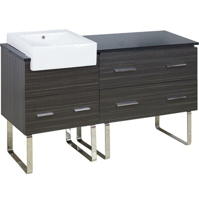 Mulberry Floor Mount 60 Single Bathroom Plywood Vanity Set with Ceramic Top Faucet Mount: 4 Centers