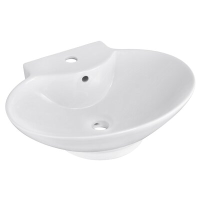 Ceramic 23 Wall Mount Bathroom Sink with Overflow