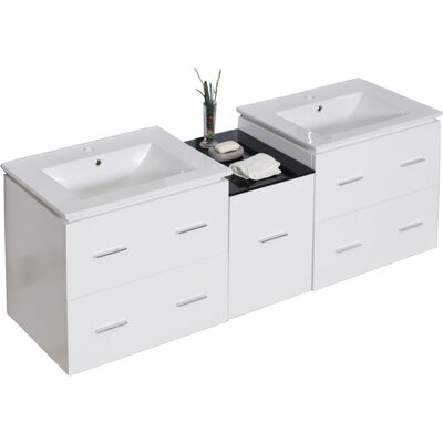 Maryalice Wall Mount 61.5 Double Bathroom Vanity Set Base Finish: White