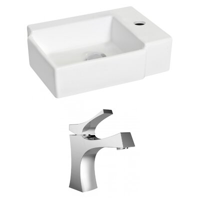 Ceramic 12 Wall Mount Bathroom Sink with Faucet and Overflow