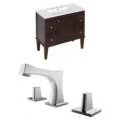 Kimmell Floor Mount 35.5 Single Bathroom Vanity Set Faucet Mount: 8 Centers