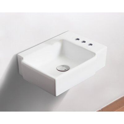 Ceramic 17 Wall Mount Bathroom Sink with Overflow