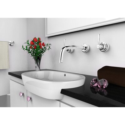 Transition Ceramic Oval Vessel Bathroom Sink with Overflow