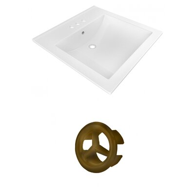 Ceramic 22 Single Bathroom Vanity Top Faucet Mount: 4 Centers, Overflow Cap Color: Antique Brass