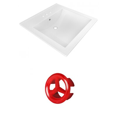Ceramic 22 Single Bathroom Vanity Top Faucet Mount: 4 Centers, Overflow Cap Color: Red