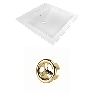 Ceramic 22 Single Bathroom Vanity Top Faucet Mount: 4 Centers, Overflow Cap Color: Gold