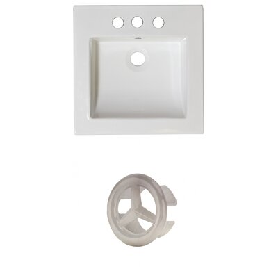 Ceramic 22 Single Bathroom Vanity Top Faucet Mount: 4 Centers, Overflow Cap Color: Brushed Nickel