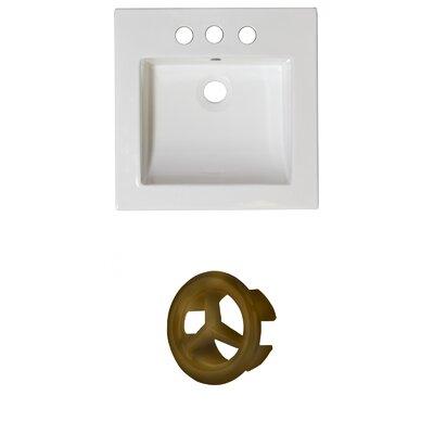 Ceramic 22 Single Bathroom Vanity Top Faucet Mount: 4 Centers, Overflow Cap Color: Antique Brass