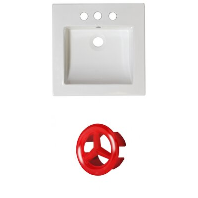 Ceramic 22 Single Bathroom Vanity Top Faucet Mount: 4 Centers, Overflow Cap Color: Red