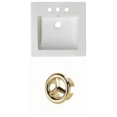Ceramic 22 Single Bathroom Vanity Top Faucet Mount: 4 Centers, Overflow Cap Color: Gold