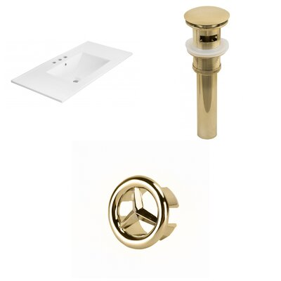 Drake 36 Single Bathroom Vanity Top Faucet Mount: 4 Centers, Drain Color: Gold, Overflow Cap Color: Gold