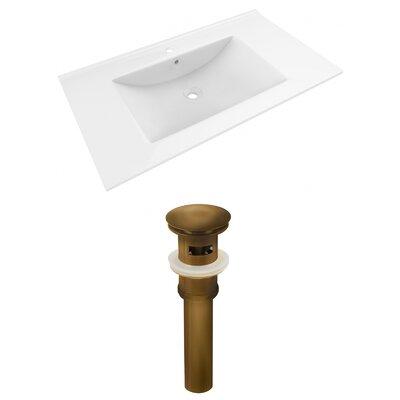 Drake 36 Single Bathroom Vanity Top Faucet Mount: Single, Drain Color: Antique Brass