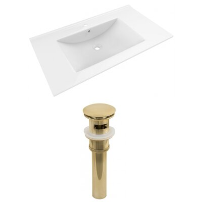 Drake 36 Single Bathroom Vanity Top Faucet Mount: Single, Drain Color: Gold