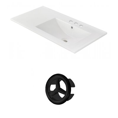 Drake 36 Single Bathroom Vanity Top Faucet Mount: Single, Overflow Cap Color: Black