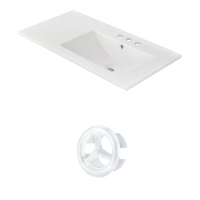 Drake 36 Single Bathroom Vanity Top Faucet Mount: 4 Centers, Overflow Cap Color: White