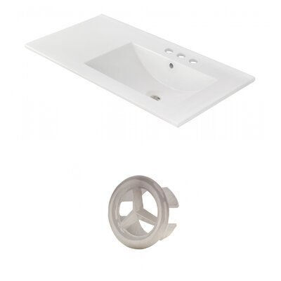 Drake 36 Single Bathroom Vanity Top Faucet Mount: 4 Centers, Overflow Cap Color: Brushed Nickel
