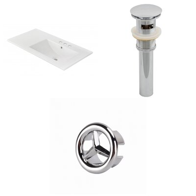 Drake 36 Single Bathroom Vanity Top Faucet Mount: 4 Centers, Drain Color: Chrome, Overflow Cap Color: Chrome