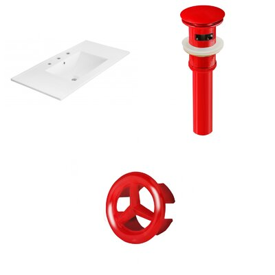 Drake 36 Single Bathroom Vanity Top Faucet Mount: 8 Centers, Drain Color: Red, Overflow Cap Color: Red