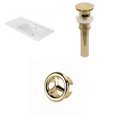 Drake 36 Single Bathroom Vanity Top Faucet Mount: 4 Centers, Drain Color: Gold, Overflow Cap Color: Gold
