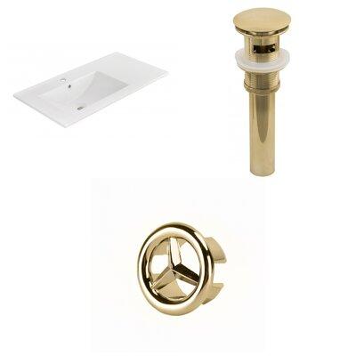 Drake 36 Single Bathroom Vanity Top Faucet Mount: Single, Drain Color: Gold, Overflow Cap Color: Gold