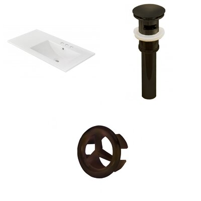 Drake 36 Single Bathroom Vanity Top Faucet Mount: 4 Centers, Drain Color: Black, Overflow Cap Color: Black