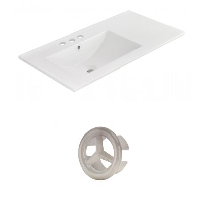 Drake 36 Single Bathroom Vanity Top Faucet Mount: 4 Centers, Overflow Cap Color: Brushed Nickel