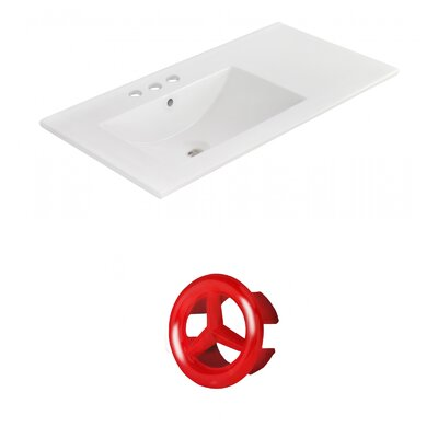 Drake 36 Single Bathroom Vanity Top Faucet Mount: 4 Centers, Overflow Cap Color: Red