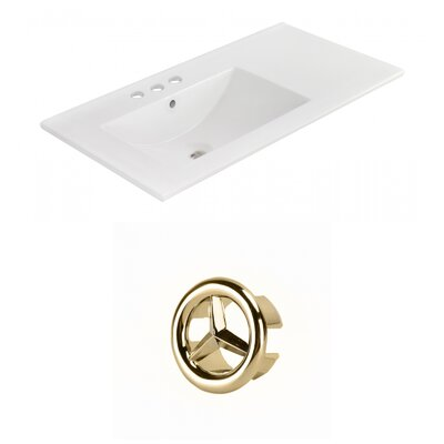 Drake 36 Single Bathroom Vanity Top Faucet Mount: 4 Centers, Overflow Cap Color: Gold