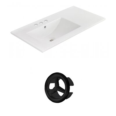 Drake 36 Single Bathroom Vanity Top Faucet Mount: 4 Centers, Overflow Cap Color: Black