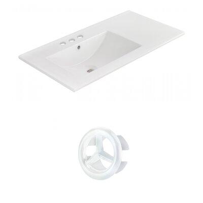 Drake 36 Single Bathroom Vanity Top Faucet Mount: 4 Centers, Overflow Cap Color: White