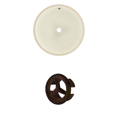 Ceramic Circular Undermount Bathroom Sink with Overflow Overflow Color: Antique Brass