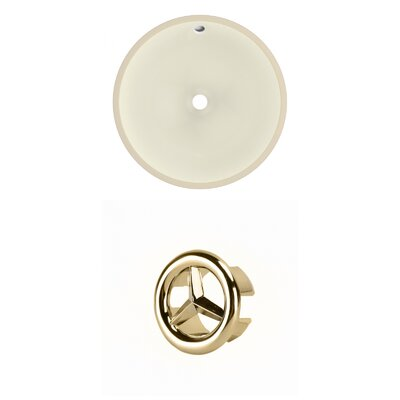 Ceramic Circular Undermount Bathroom Sink with Overflow Overflow Color: Gold