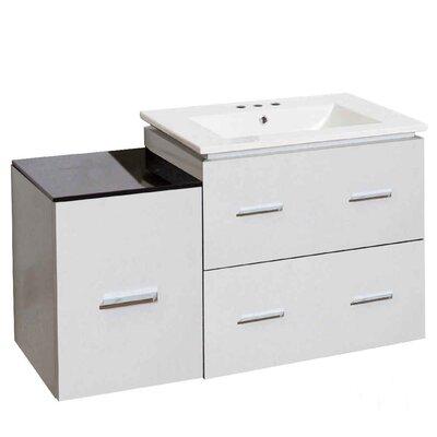 Hinerman 38 Wall-Mounted Single Bathroom Vanity Set Base Finish: White, Faucet Mount: 8 Centers