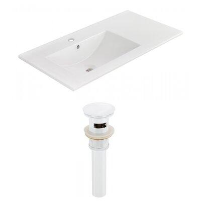 Drake 36 Single Bathroom Vanity Top Faucet Mount: Single, Drain Color: White