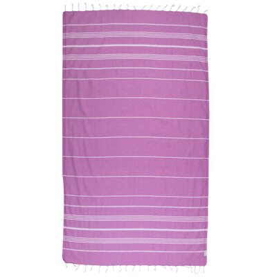 Classic Turkish 100% Cotton Beach Towel Color: Purple