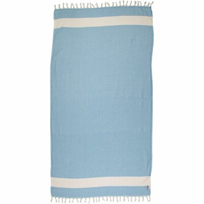 Zigzag Pattern Turkish Beach Towel Color: Blue Bell